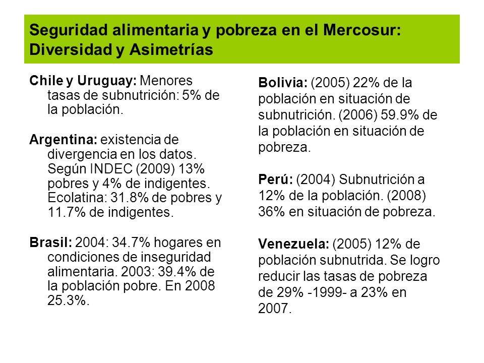 Seguridad alimentaria y pobreza en el Mercosur: Diversidad y Asimetrías