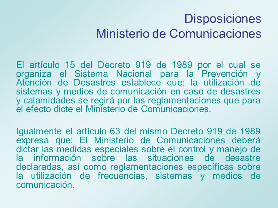 Disposiciones Ministerio de Comunicaciones