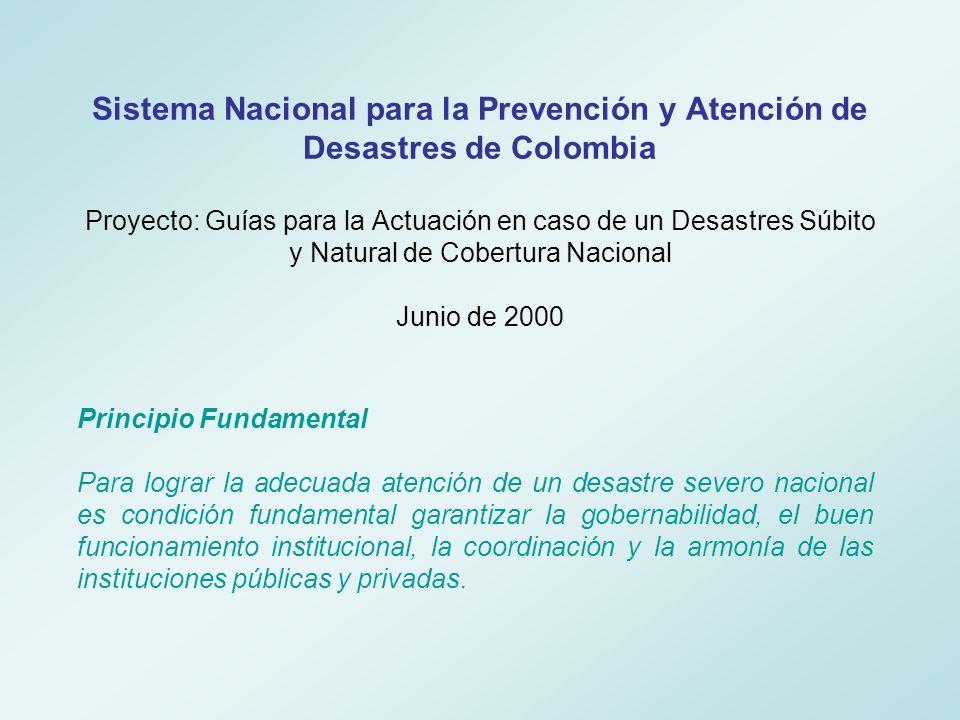 Sistema Nacional para la Prevención y Atención de Desastres de Colombia Proyecto: Guías para la Actuación en caso de un Desastres Súbito y Natural de Cobertura Nacional Junio de 2000
