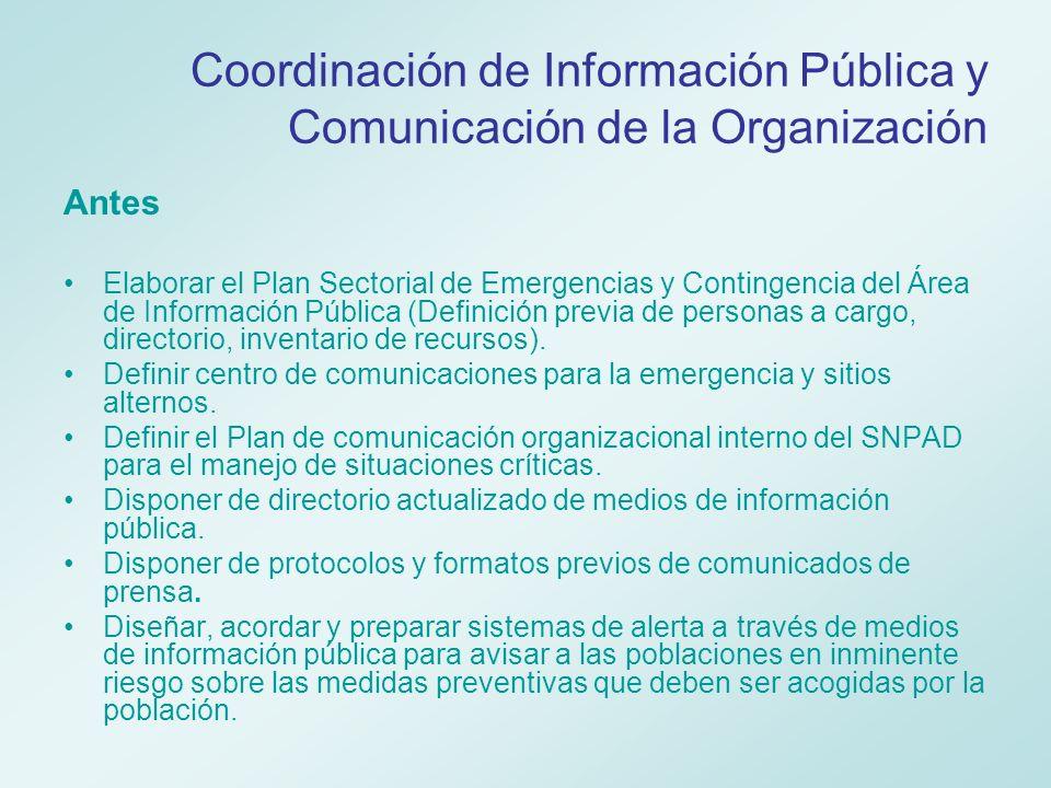 Coordinación de Información Pública y Comunicación de la Organización