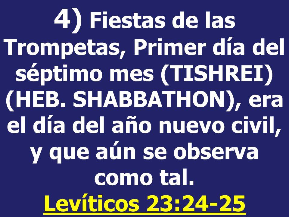 4) Fiestas de las Trompetas, Primer día del séptimo mes (TISHREI) (HEB