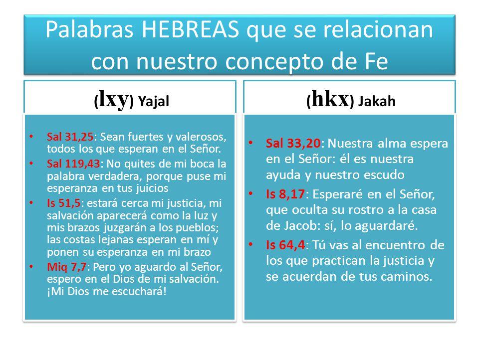 Palabras HEBREAS que se relacionan con nuestro concepto de Fe