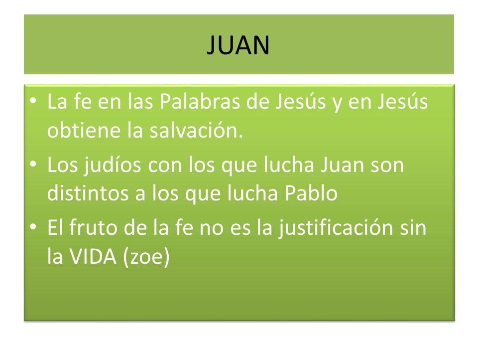 JUAN La fe en las Palabras de Jesús y en Jesús obtiene la salvación.