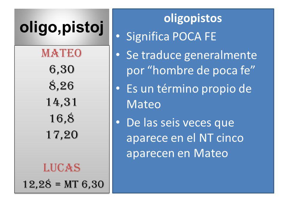 oligo,pistoj oligopistos Significa POCA FE