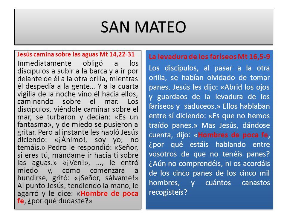 SAN MATEO Jesús camina sobre las aguas Mt 14,22-31.