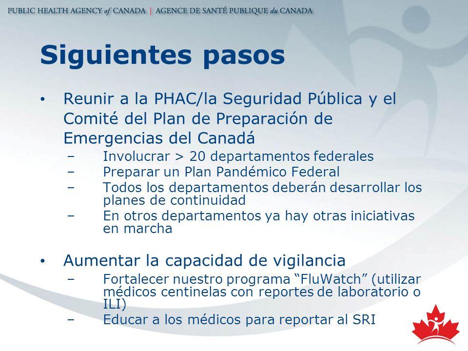 Siguientes pasosReunir a la PHAC/la Seguridad Pública y el Comité del Plan de Preparación de Emergencias del Canadá.