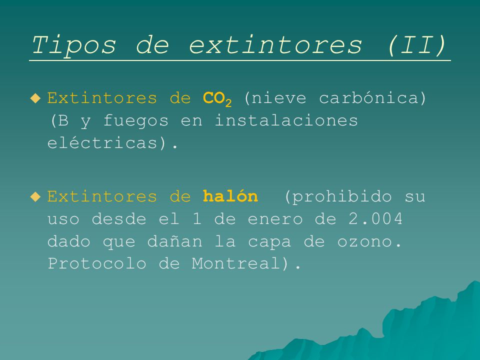 Tipos de extintores (II)
