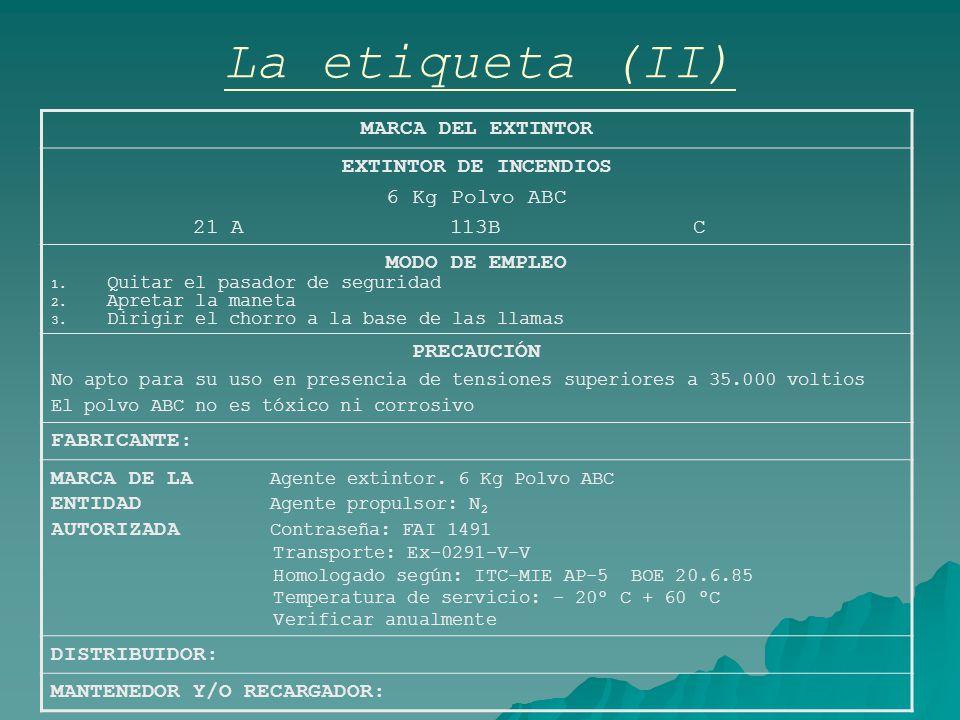 La etiqueta (II) MARCA DEL EXTINTOR EXTINTOR DE INCENDIOS