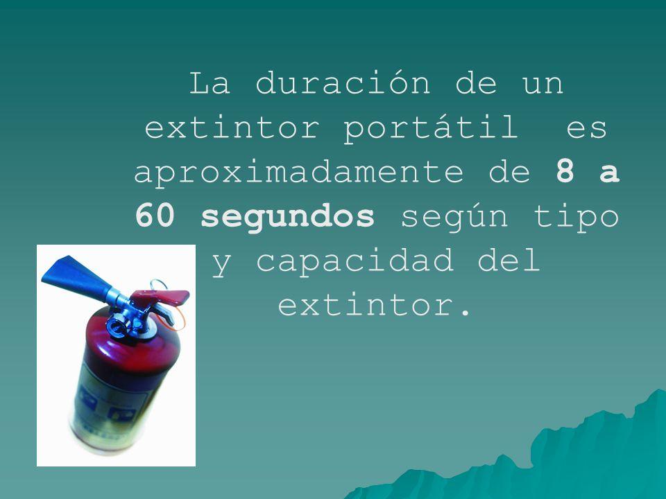La duración de un extintor portátil es aproximadamente de 8 a 60 segundos según tipo y capacidad del extintor.