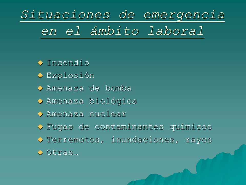 Situaciones de emergencia en el ámbito laboral