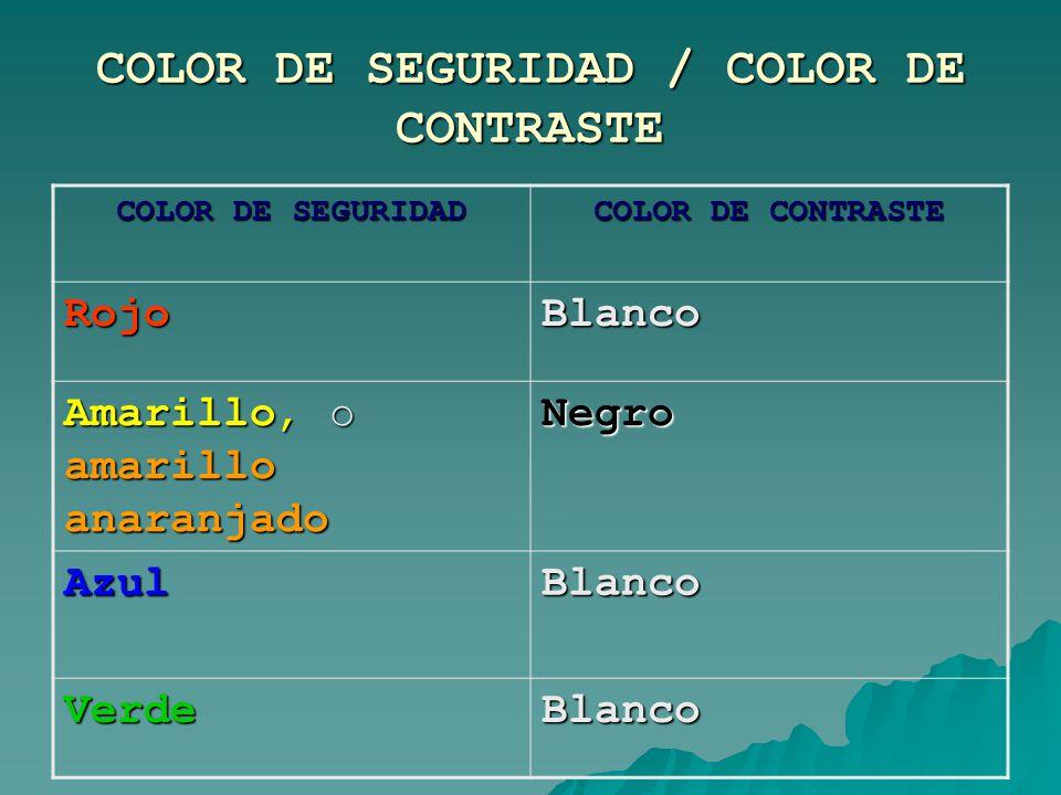COLOR DE SEGURIDAD / COLOR DE CONTRASTE