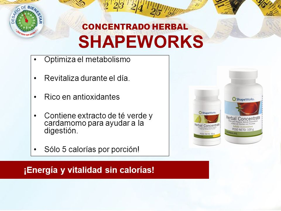 SHAPEWORKS ¡Energía y vitalidad sin calorías! CONCENTRADO HERBAL