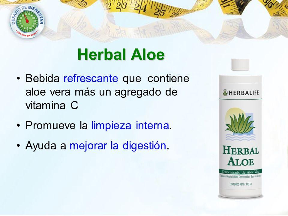 Herbal Aloe Bebida refrescante que contiene aloe vera más un agregado de vitamina C. Promueve la limpieza interna.