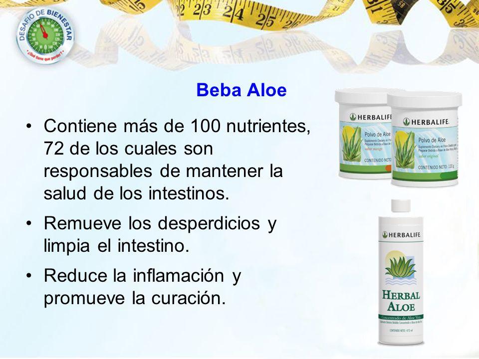 Beba Aloe Contiene más de 100 nutrientes, 72 de los cuales son responsables de mantener la salud de los intestinos.