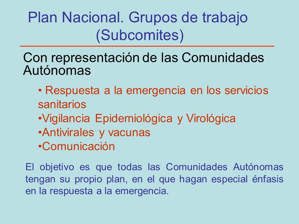 Plan Nacional. Grupos de trabajo