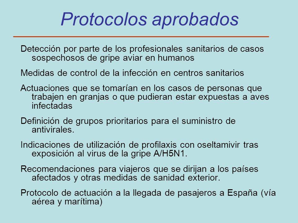 Protocolos aprobadosDetección por parte de los profesionales sanitarios de casos sospechosos de gripe aviar en humanos.