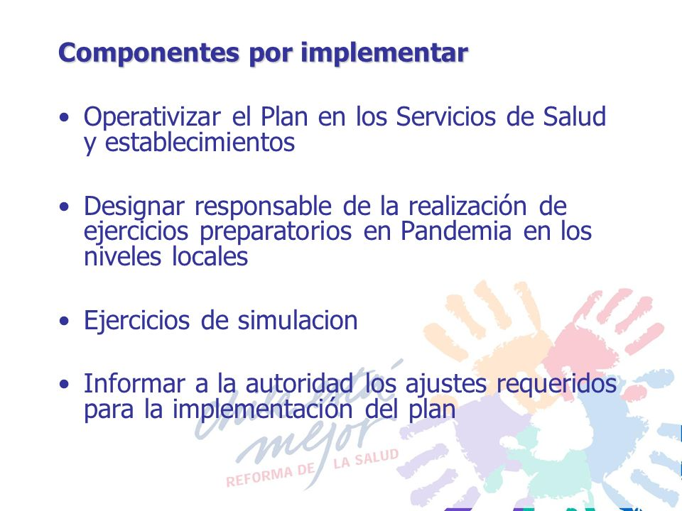 Componentes por implementar