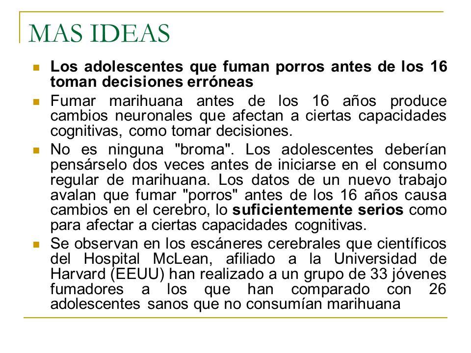 MAS IDEAS Los adolescentes que fuman porros antes de los 16 toman decisiones erróneas.