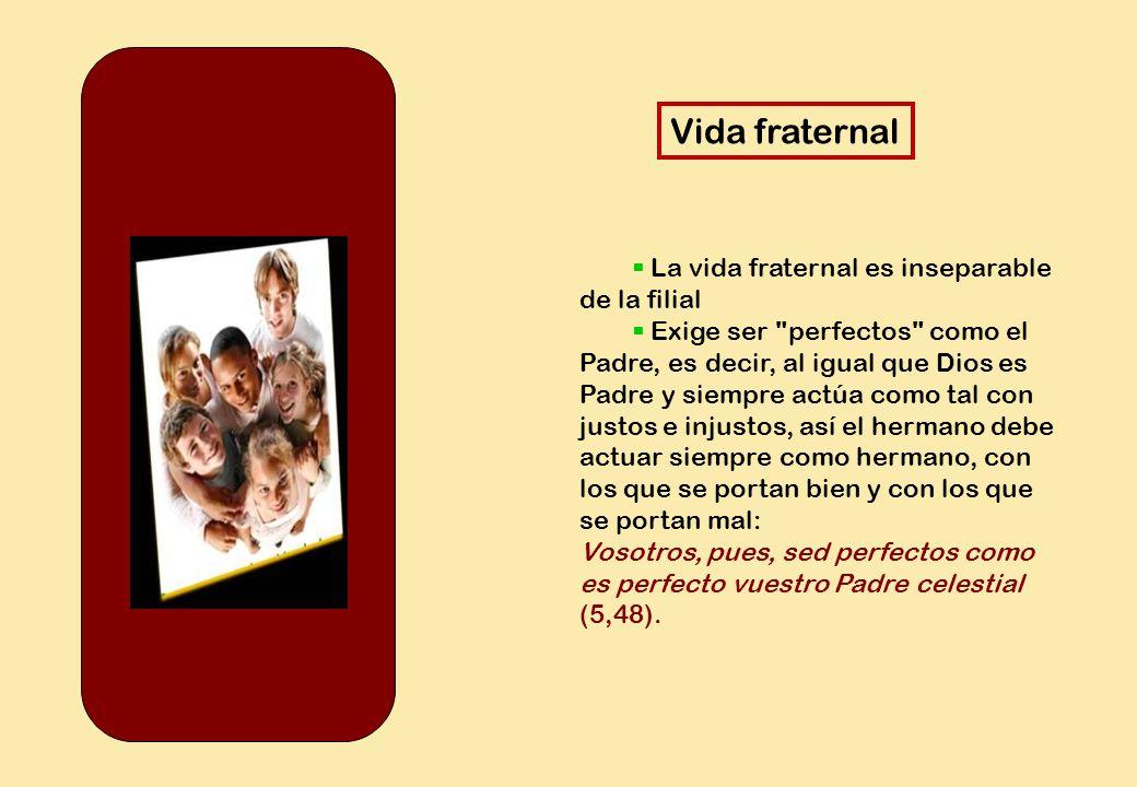 Vida fraternal  La vida fraternal es inseparable de la filial