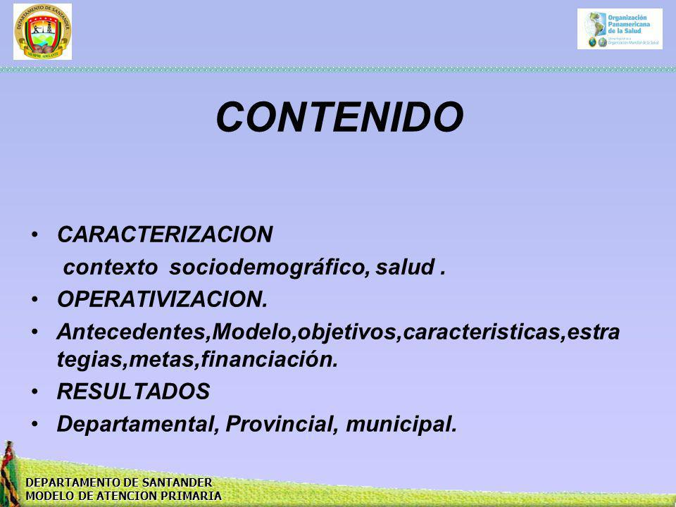 CONTENIDO CARACTERIZACION contexto sociodemográfico, salud .