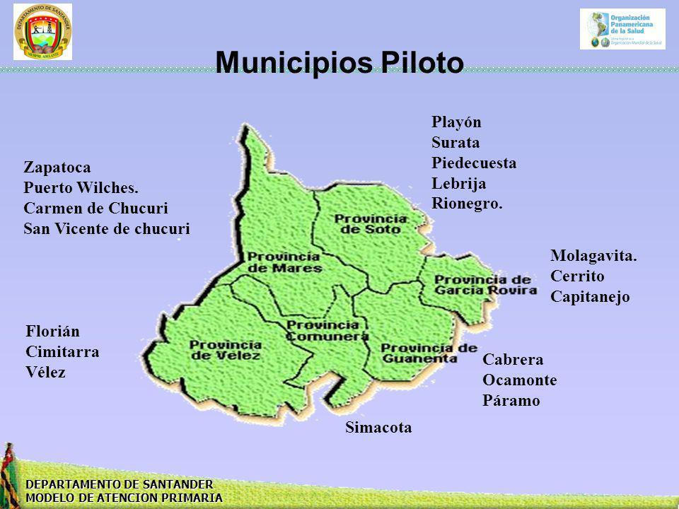 Municipios Piloto Playón Surata Piedecuesta Lebrija Rionegro. Zapatoca