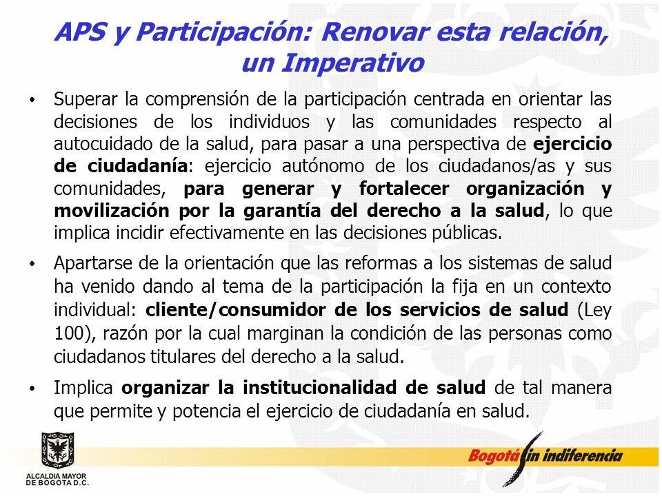 APS y Participación: Renovar esta relación, un Imperativo