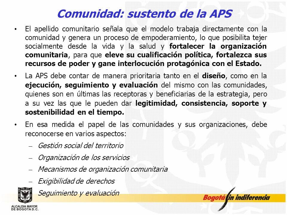 Comunidad: sustento de la APS