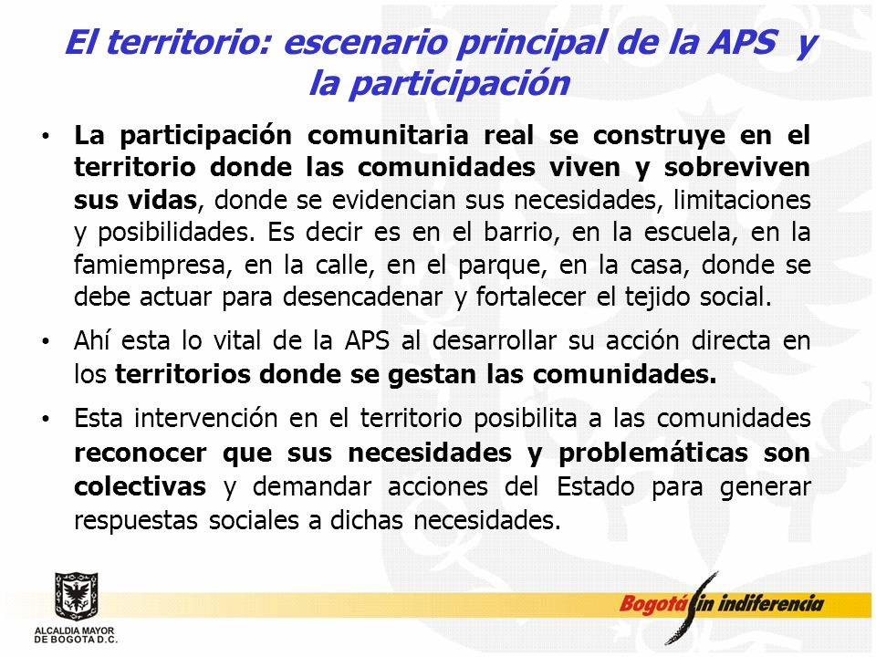 El territorio: escenario principal de la APS y la participación