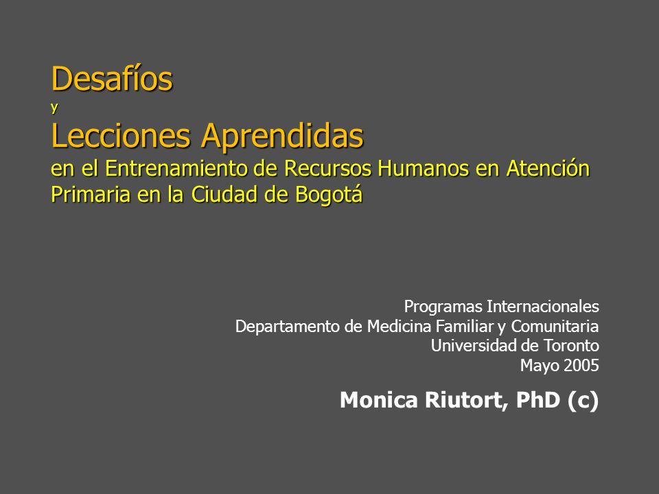 Desafíos y Lecciones Aprendidas en el Entrenamiento de Recursos Humanos en Atención Primaria en la Ciudad de Bogotá