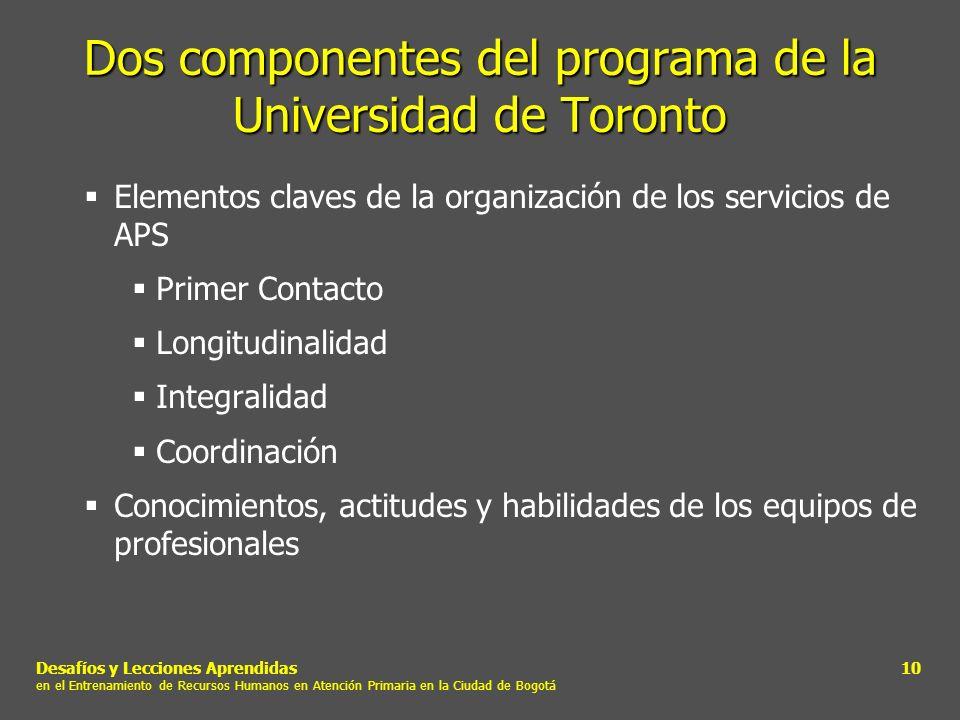 Dos componentes del programa de la Universidad de Toronto