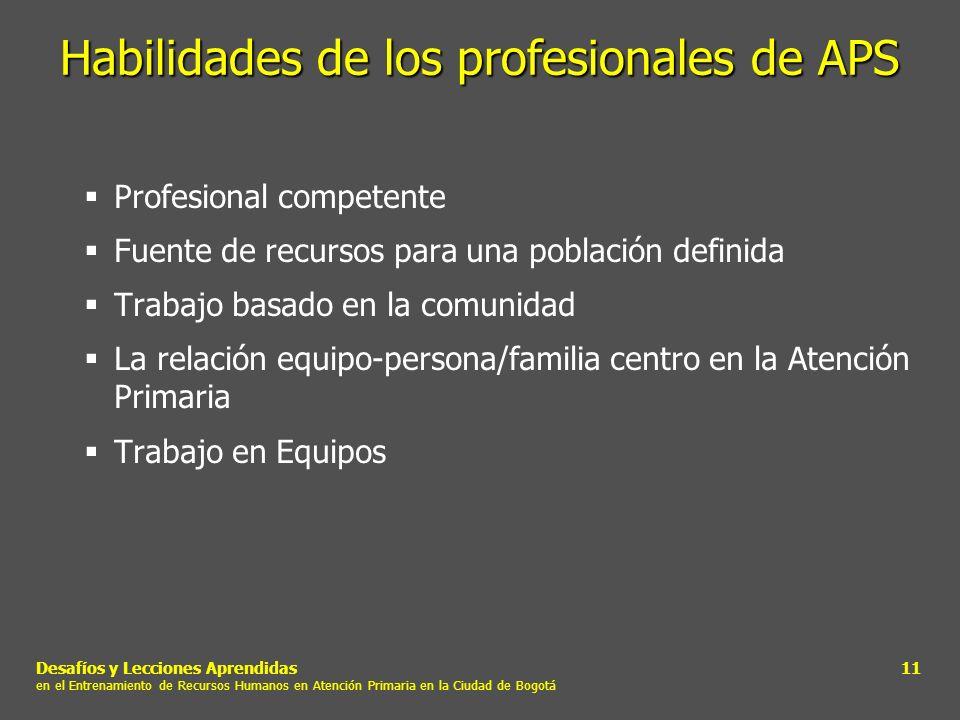 Habilidades de los profesionales de APS