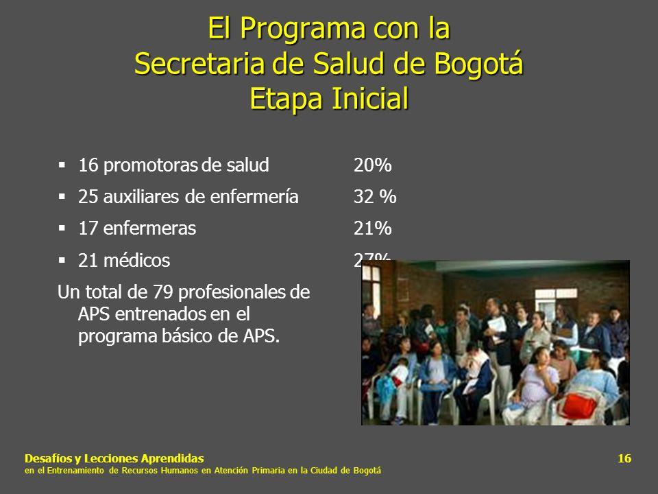 El Programa con la Secretaria de Salud de Bogotá Etapa Inicial