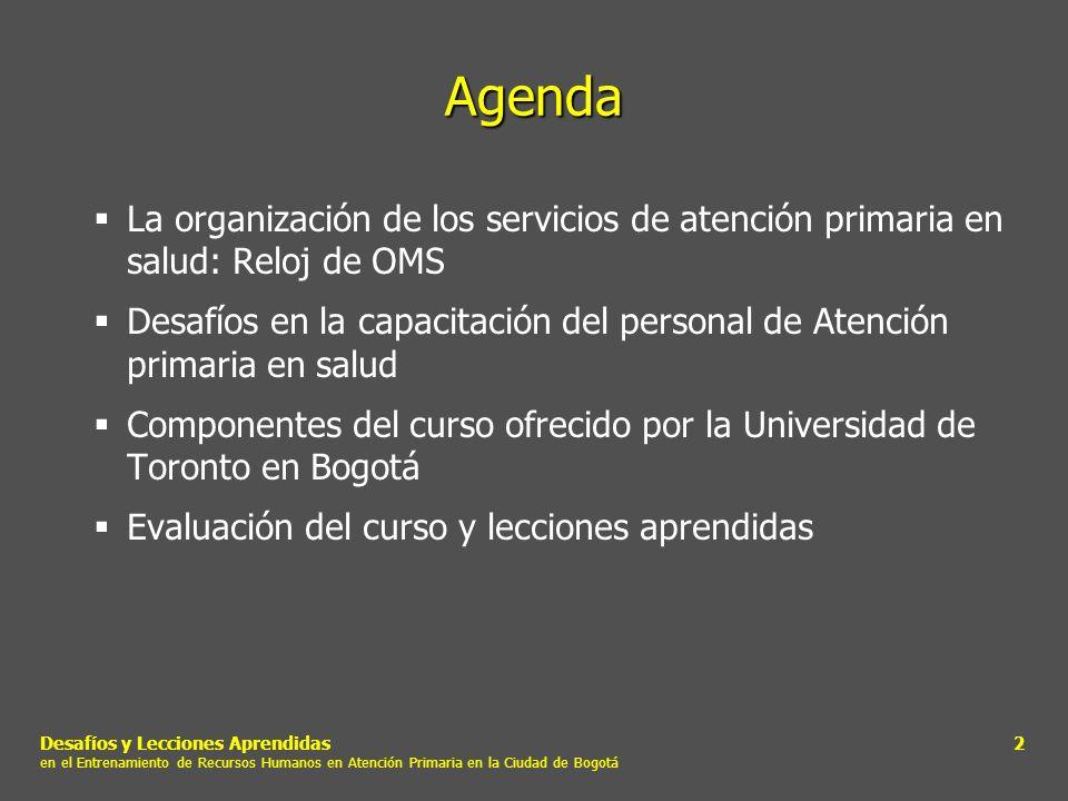 Agenda La organización de los servicios de atención primaria en salud: Reloj de OMS.