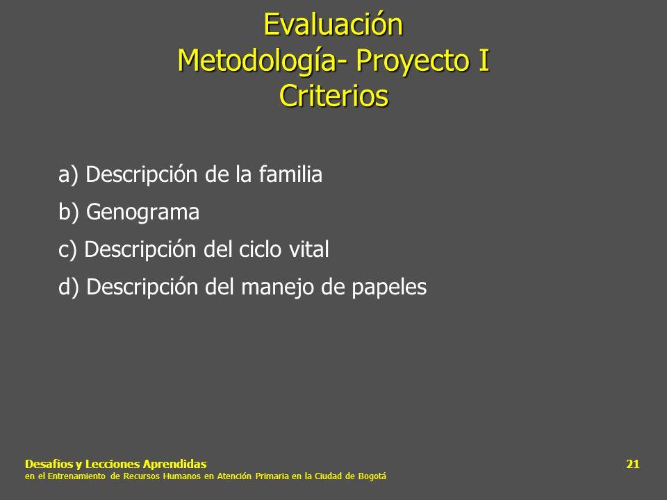 Evaluación Metodología- Proyecto I Criterios