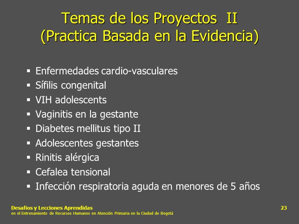 Temas de los Proyectos II (Practica Basada en la Evidencia)