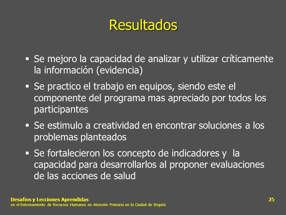 Resultados Se mejoro la capacidad de analizar y utilizar críticamente la información (evidencia)