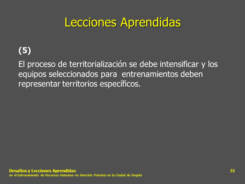 Lecciones Aprendidas (5)