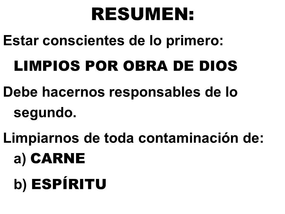 RESUMEN: Estar conscientes de lo primero: LIMPIOS POR OBRA DE DIOS