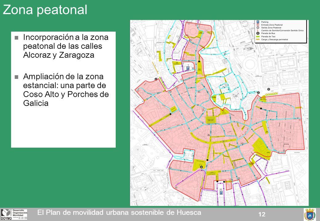 Zona peatonal Incorporación a la zona peatonal de las calles Alcoraz y Zaragoza.