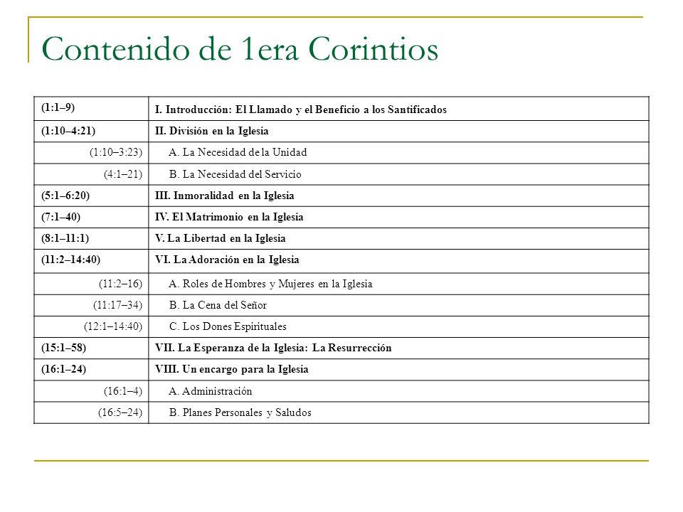 Contenido de 1era Corintios