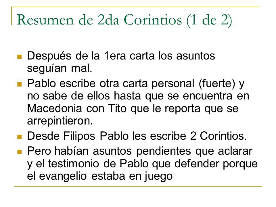 Resumen de 2da Corintios (1 de 2)