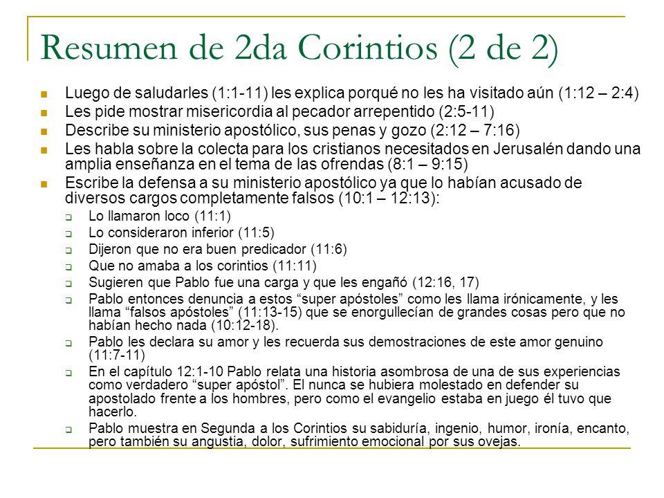 Resumen de 2da Corintios (2 de 2)