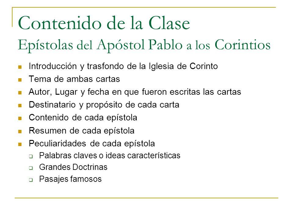 Contenido de la Clase Epístolas del Apóstol Pablo a los Corintios