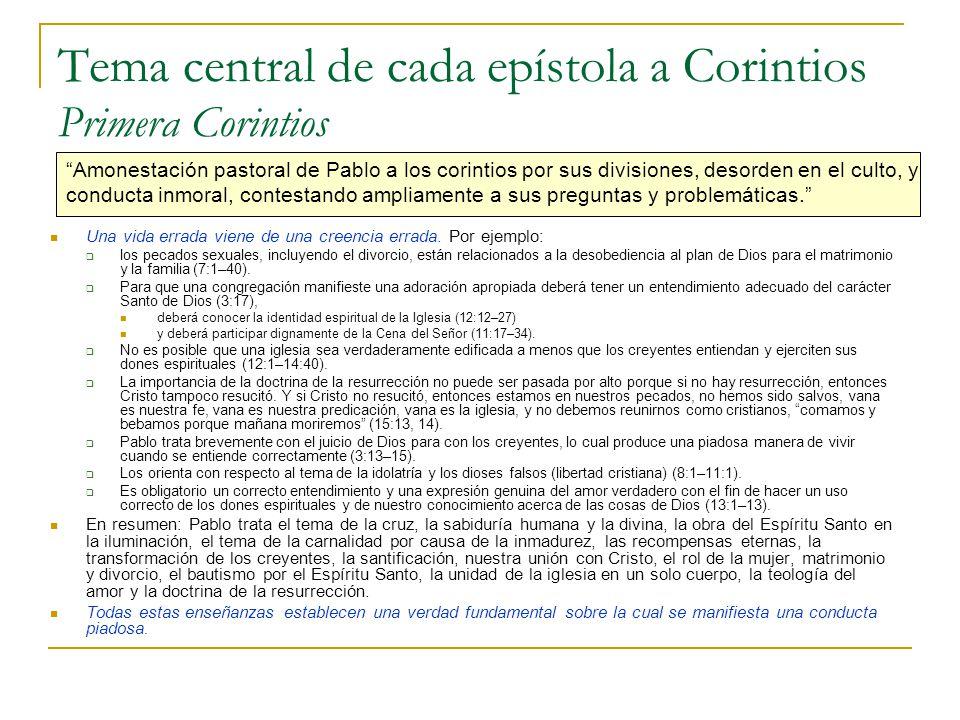 Tema central de cada epístola a Corintios Primera Corintios