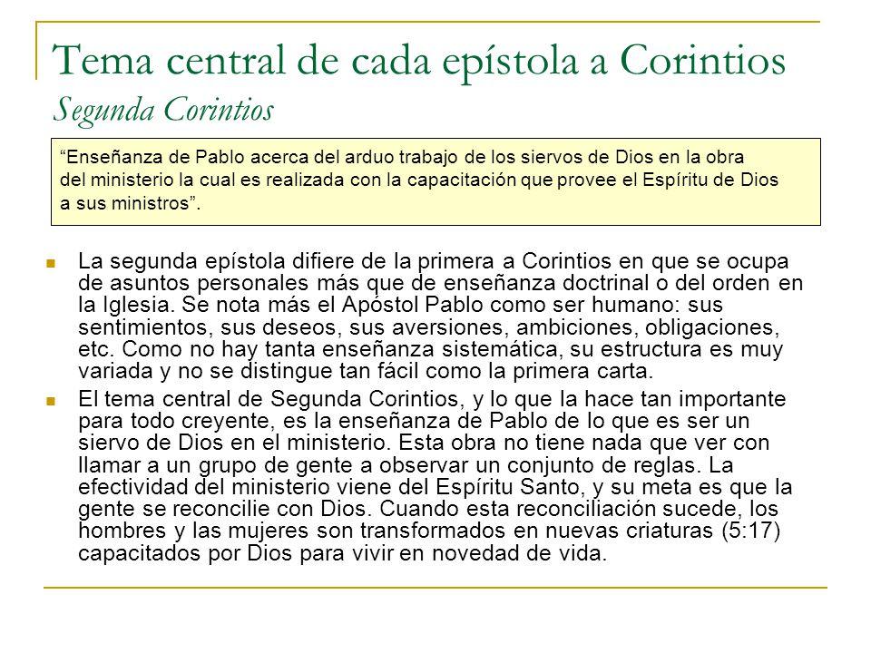 Tema central de cada epístola a Corintios Segunda Corintios