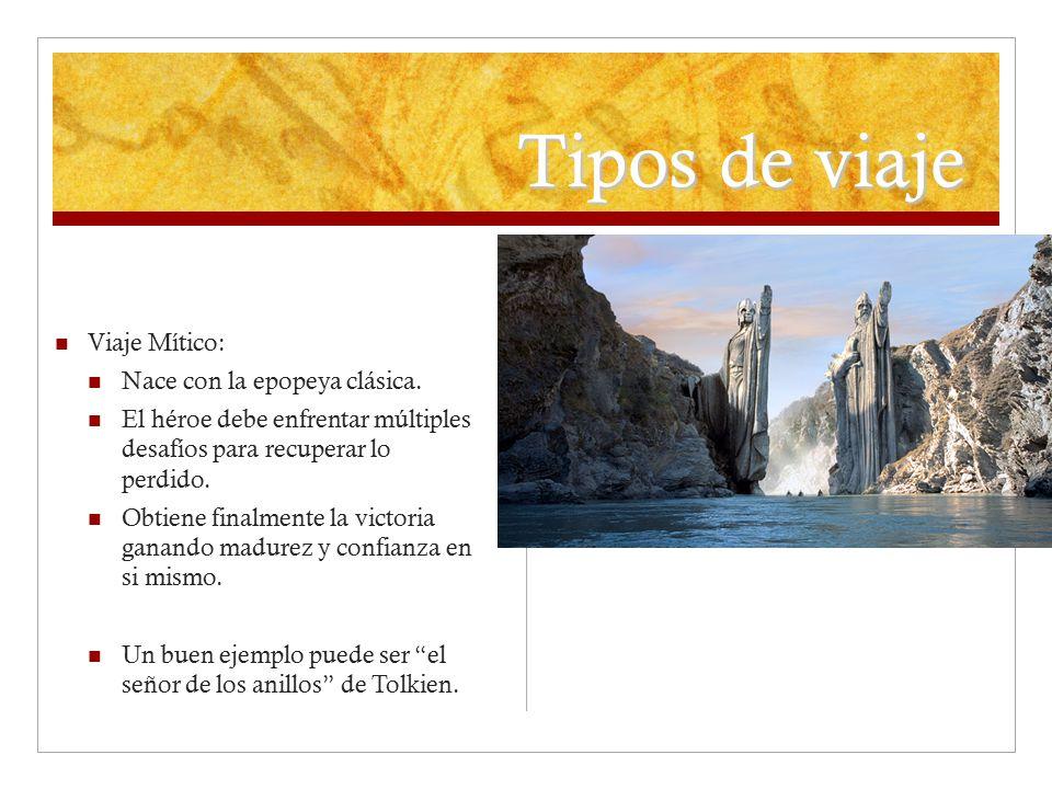 Tipos de viaje Viaje Mítico: Nace con la epopeya clásica.