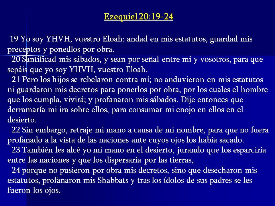 Ezequiel 20:19-24 19 Yo soy YHVH, vuestro Eloah: andad en mis estatutos, guardad mis preceptos y ponedlos por obra.