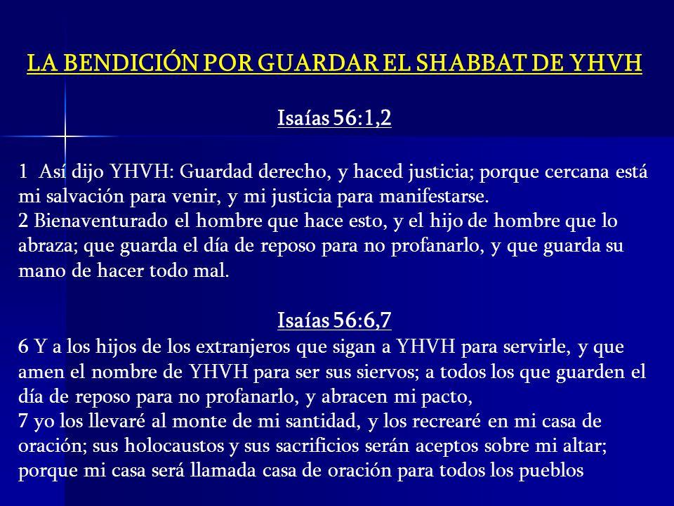 LA BENDICIÓN POR GUARDAR EL SHABBAT DE YHVH