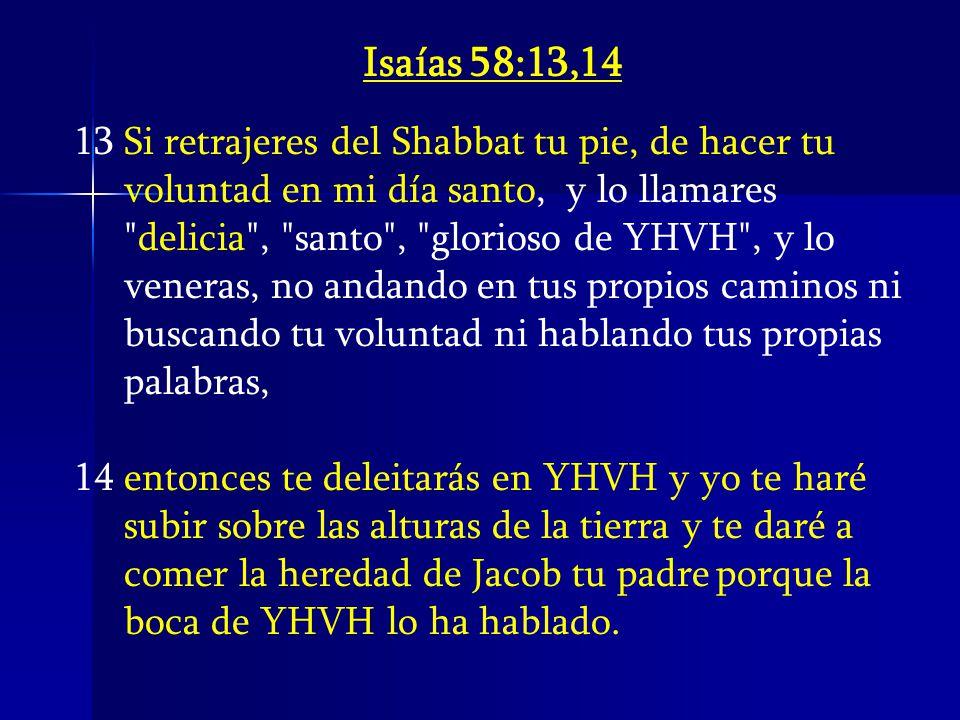 Isaías 58:13,14 Si retrajeres del Shabbat tu pie, de hacer tu