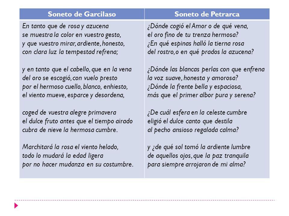 Soneto de Garcilaso Soneto de Petrarca. En tanto que de rosa y azucena. se muestra la color en vuestro gesto,